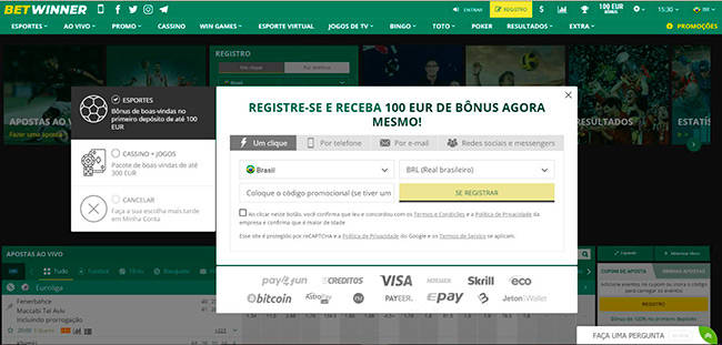 Betwinner registre-se pop-up abrir