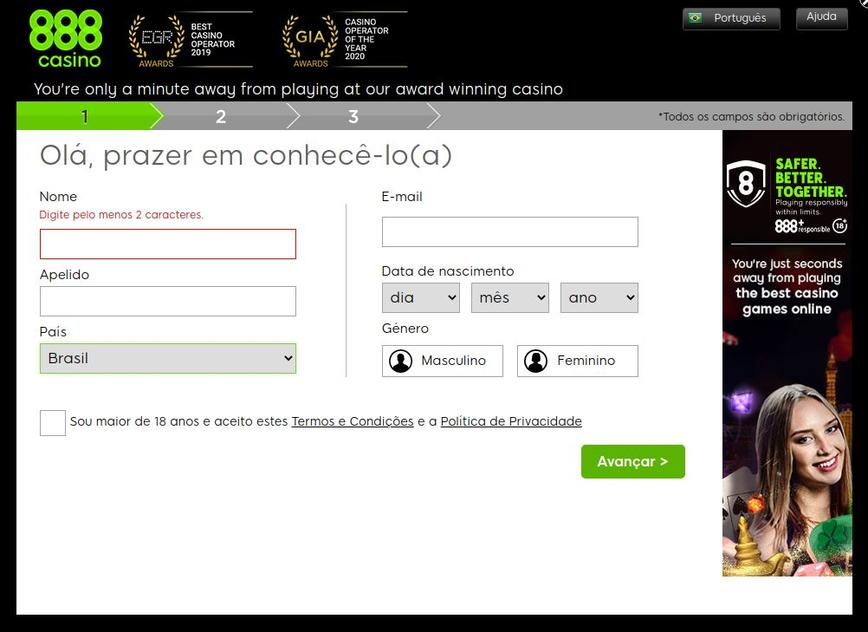 Como se registrar no site 888Casino