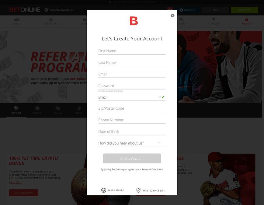 Como se registrar no site Betonline.ag