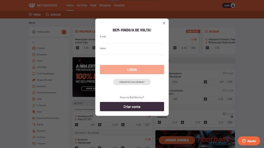 Como se registrar no site Betwarrior passo 1